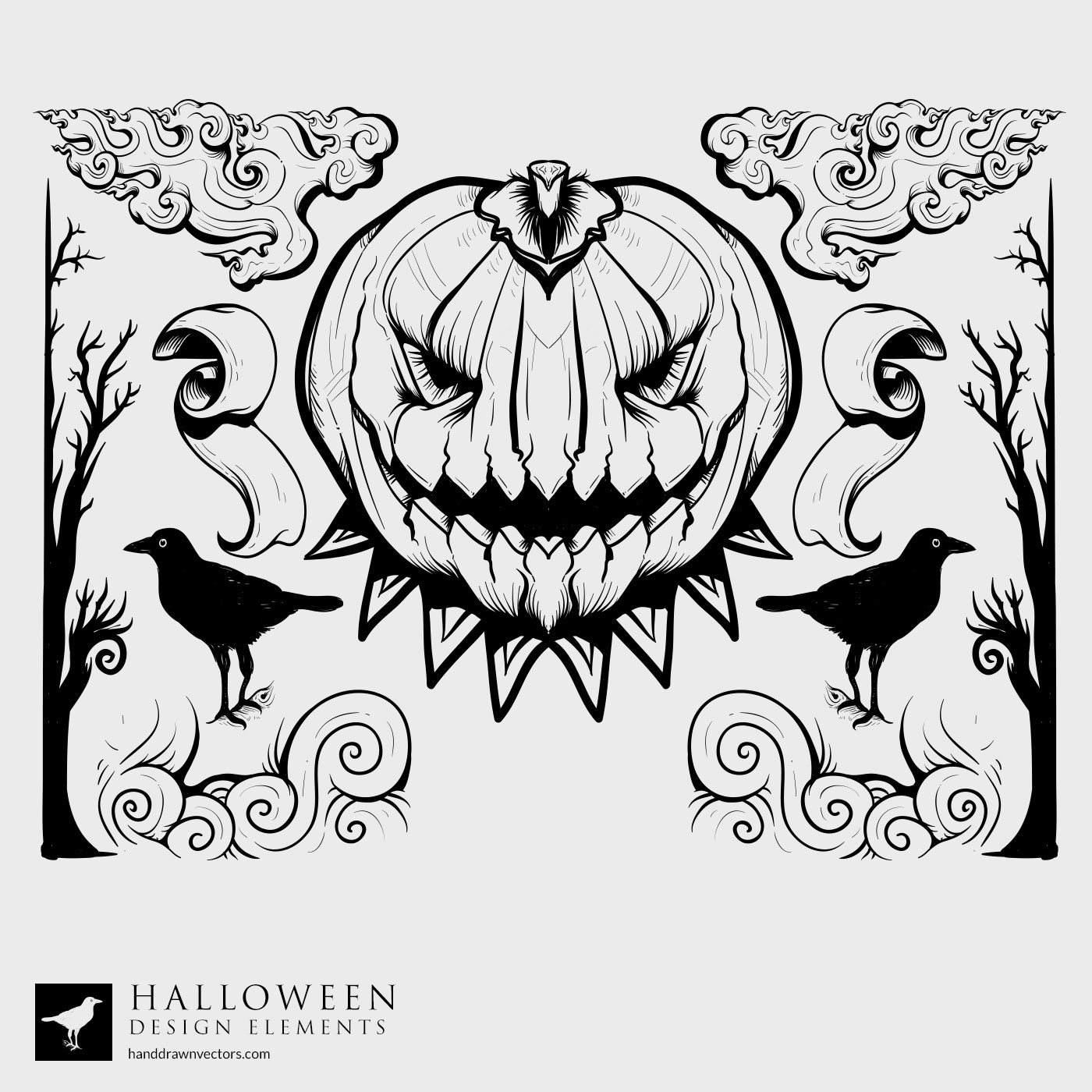 Pumpkin Forest Halloween Vector
