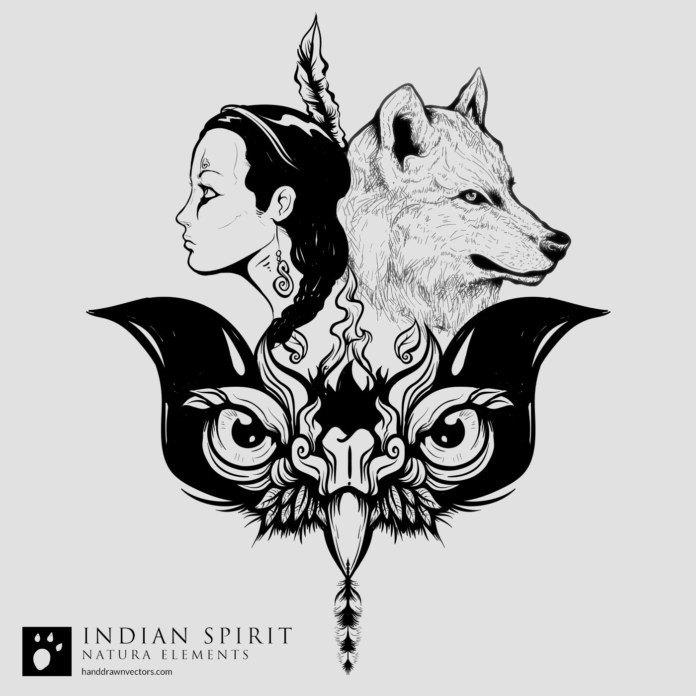 indian girl and wolf vector