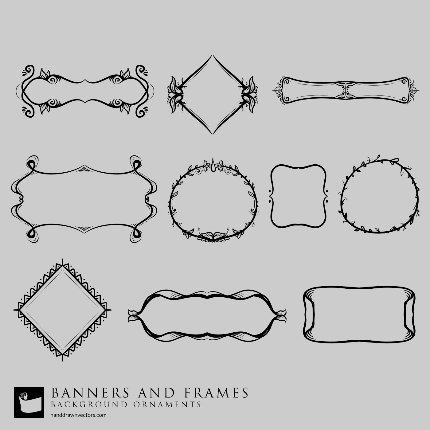 Glasses Frame Vector : Banners and Frames Vectors - Hand Drawn Vectors