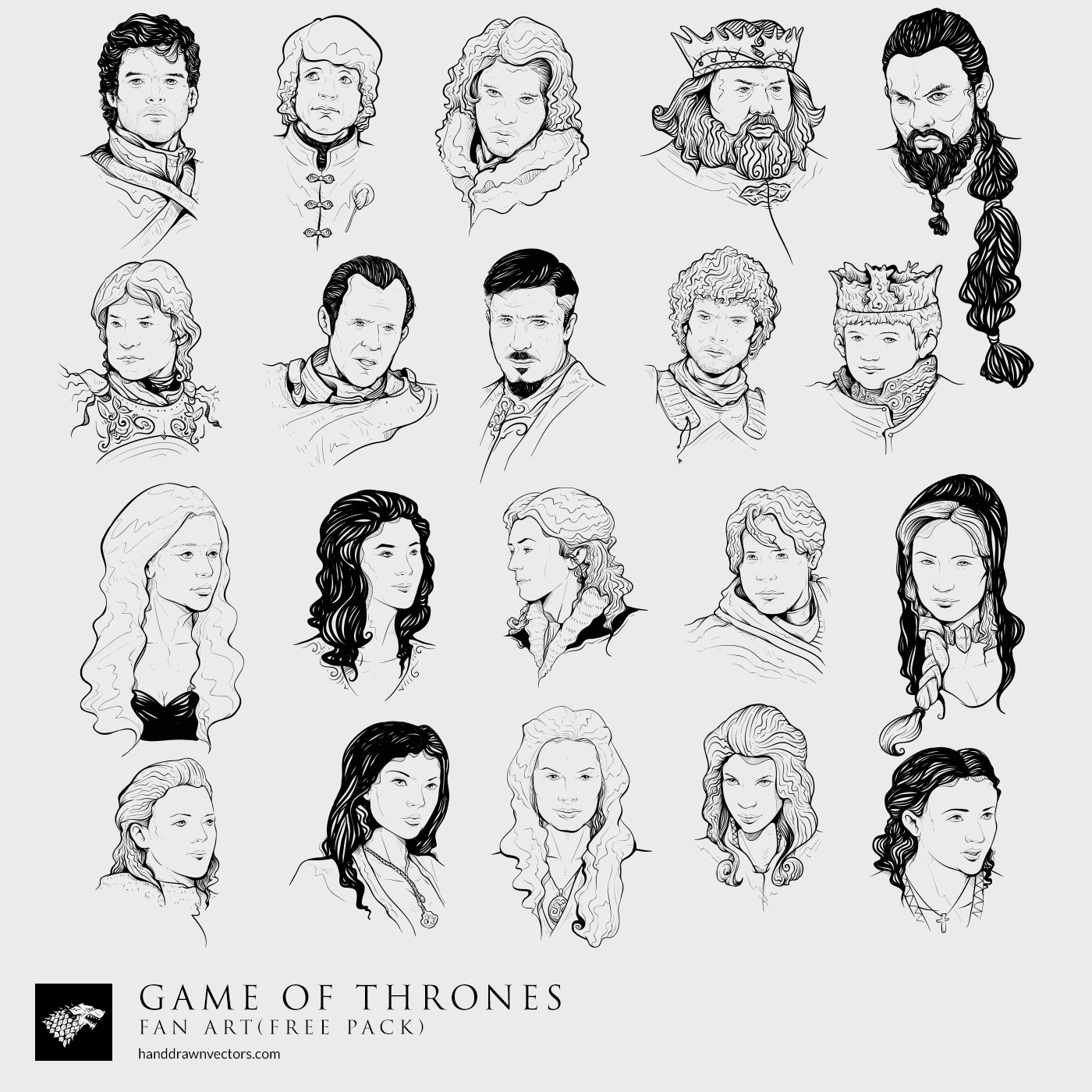 Game-of-Thrones characters Collection Vector