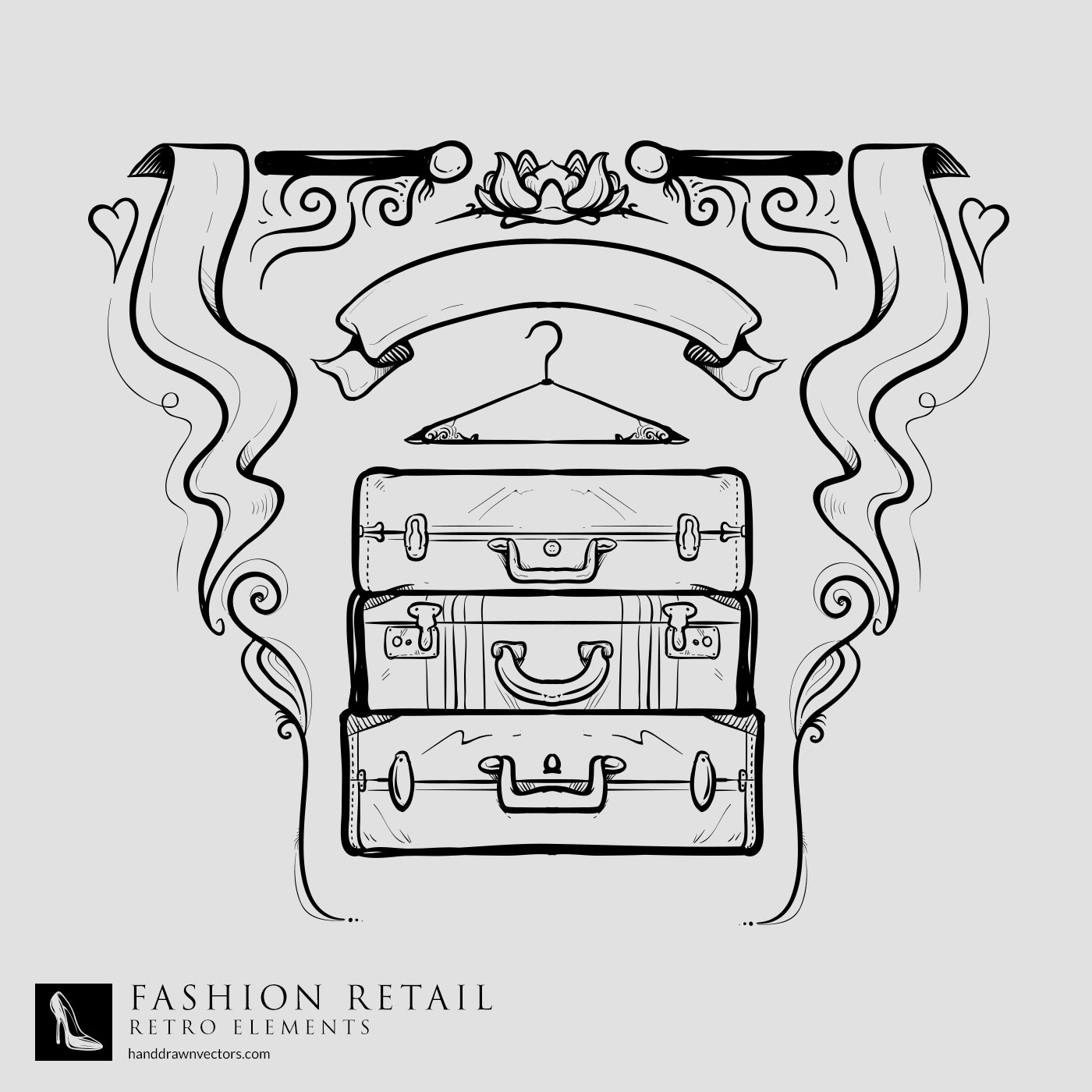suitcase hand drawn vector